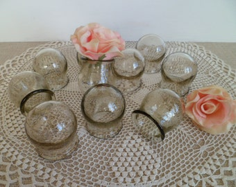 SALE! Soviet Vintage Medical Glass Cupping Jars - Small Medicine Cups,Apothecary Jar,from USSR era 1970.