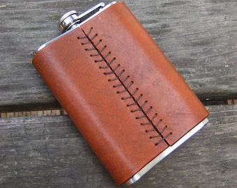 Leather Covered Flasks, 8 oz.