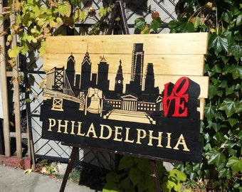 GRA Gallery - Wooden Philadelphia Skyline