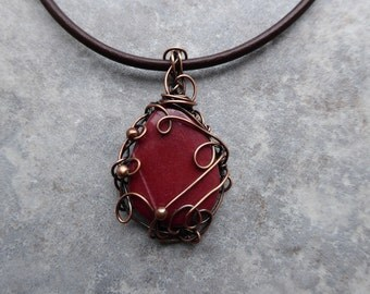 Mookaite Copper Pendant, Wire Wrapped Jewelry Handmade, Mookaite Necklace, Mookaite Jewelry, Boho Gift, Best Friend Gift, Adjustable Length
