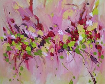 Original Art Abstract painting acrylic on canvas Pink painting abstract wall art Landscape painting Modern art Contemporary art