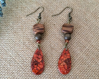 Boho Inspired Mosaic Teardrop Earrings in Burnt Orange and Red