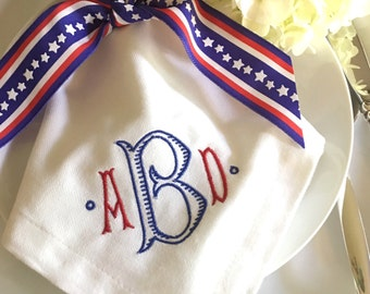 Red, White & Blue Monogrammed Napkins Set of 6