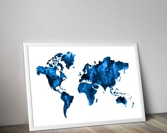 Blue map, Travel art, watercolor world map, watercolor painting