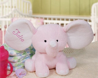 Personalized Pink Elephant Plush Embroidered Name Soft & Cuddly Plush Elephant