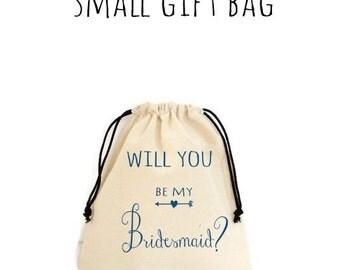 Will Be My Bridesmaid Bride Natural Cotton Gift Bag Cosmetic Bag