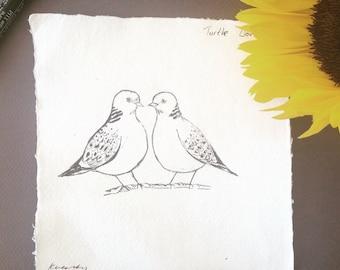 Turtle Doves, Original Ink Sketch