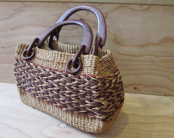 Brown Woven Straw Purse With Wooden Handle