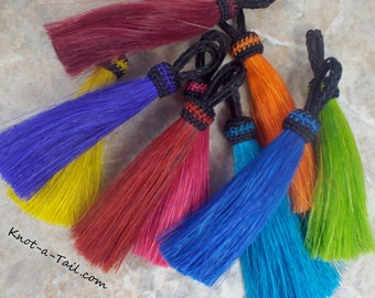 "Horse hair tassel, brilliant vivid dyed tassel,  4 1/2"" Long horse hair tassel,  horse hair necklaces, horsehair jewelry, Western accessory"