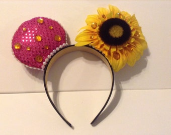 Pink Sequined Mouse Ears with Sunflower