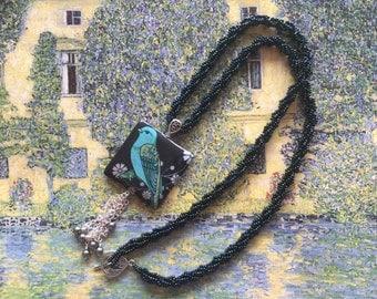 Blue bird necklace