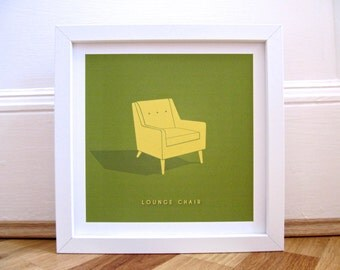 Yellow Lounge Chair Print 9x9