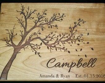Custom Cutting Board Personalized Wedding cutting board , Engraved Laser engraved Wedding Gift with Tree - Wedding Gift, Established Date