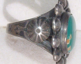 Vintage 1920's OLD Old Pawn Navajo Sterling Silver GREEN ROYSTON Turquoise Ring