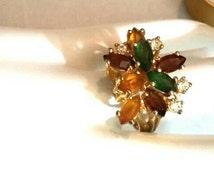 Vintage 18kt HGE Cluster Ring, Green, Brown, Gold and Clear Gem Stones