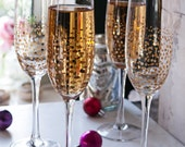 Gold Sparkle Champagne Flutes Set of 4 | Champagne Glasses | Toasting Glasses | Wedding Glasses | Cocktail Glasses