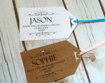 10 personalised individual name tags/placecards with ribbon or twine.