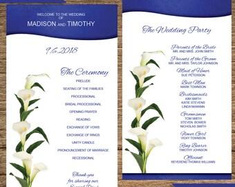 White Calla Lily Wedding Program FLW-05-WP-Digital Download