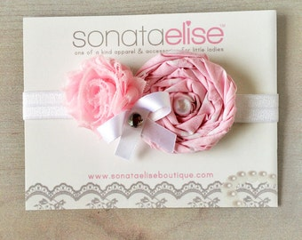 Pink & White Baby Headband - Baby Headbands - Light Pink Headband - Newborn Girl Headband