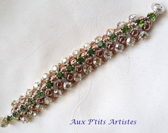 "bracelet ""Azzura"" golden Swarovski crystal and olivine"