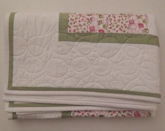 Quilt, Handmade Baby Quilt, Modern Baby Quilt, Pink Green Quilt, Baby Girl Quilt, Small Quilt