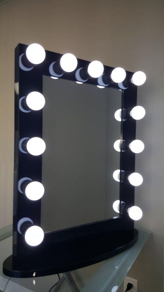 hollywood impact lighted vanity mirror w led bulbs double etsy. Black Bedroom Furniture Sets. Home Design Ideas