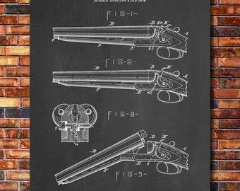 LC Smith Shotgun Patent Print Art 1887