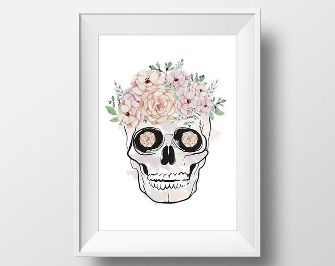 Floral Skull / Mexican Sugar Skull Poster 50X70 / Printable Mexican Flower Skull / Mexican Skull Wall Art / Mexical Poster