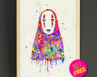 Spirited Away No Face Print, Watercolor Painting, Studio Ghibli, Nursery Print, Home Decor, Kids Room, Wall Art, Gifts -Free Shipping-430s2g