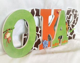 Jungle nursery letters, Letters for nursery boy, safari nursery decor, wooden letters for nursery, letters for boy, baby boy letters