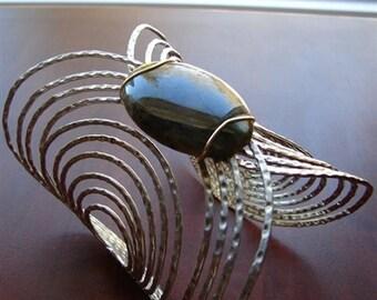 Cuff Bracelet with Labradorite Cabochon