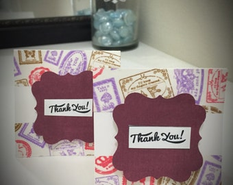 Handmade Greeting Card: Mini Thank You note cards- Set of 6