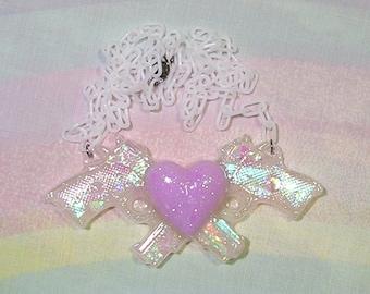 Pastel Goth Necklace, Holographic Gun Necklace, Glitter Gun Necklace, Crossed Guns Necklace, Sparkle Gun Necklace