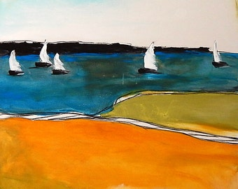 Abstract painting with sailing ships