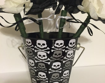 SALE* Handcrafted Skull and Cross Bones Flower Pen Pot / Wedding, Shower, Party Favor or Office Gift