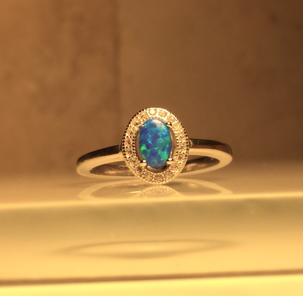 small opal ring handmade gemstone ring handmade lab opal and