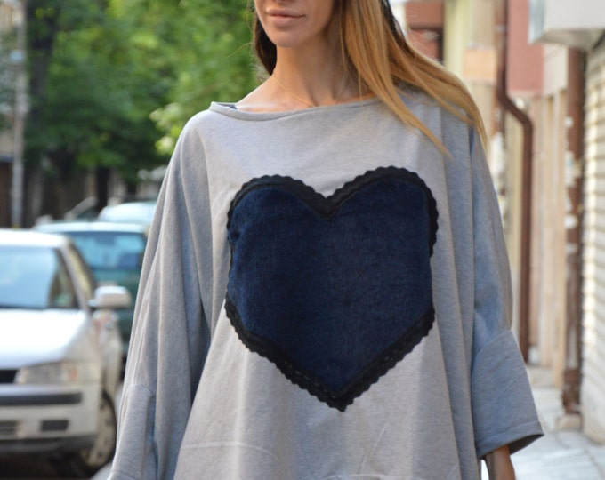 Gray Cotton Top With Heart, Maxi Blouse, Asymmetric Tunic Top, Loose Extra Large Blouse, Plus Size Top By SSDfashion