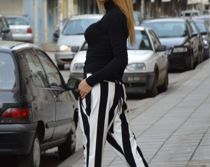 Black And White Pants, Extravagant Plus Size Pants, Tapered Trousers, Casual Drop Crotch Pants By SSDfashion