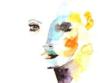 Women face painting large original signed print new modern wall decor print watercolour print