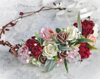 Bridal floral crown Flower halo Floral crown Boho flower crown Wedding flower crown Flower crown Girl flower crown Rustic floral crown LV12