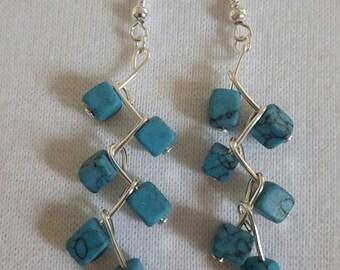 Beautiful zigzag Turquoise drop earrings
