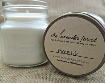 fireside // hand-poured 8oz mason jar soy candle // natural soy wax // highly scented // rustic
