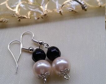 Recycled Earrings, Upcycled Earrings, Vintage, Black and Pearl