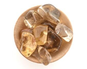 Natural citrine tumblestone crystal, one piece, small sized tumbled stone