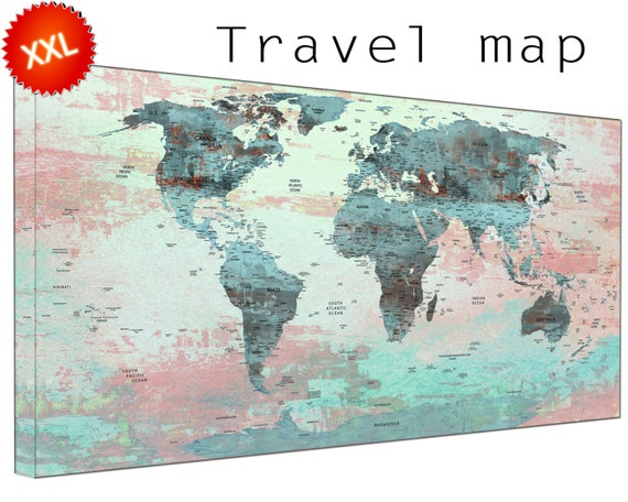 Travel world maps canvasconquest world map with pins canvas wall art art print large world map with pins with countries sciox Choice Image