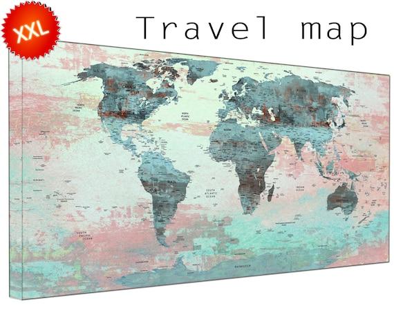 world map with pins canvas wall art art print large  world map with pins with countries home Office Decor print on canvas wall art