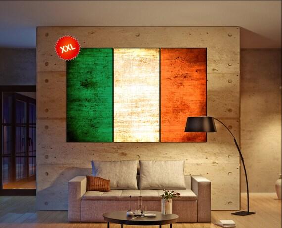 Ireland flag canvas wall art art print large  canvas wall art print Ireland country flag Wall Home office decor interior Office Decor