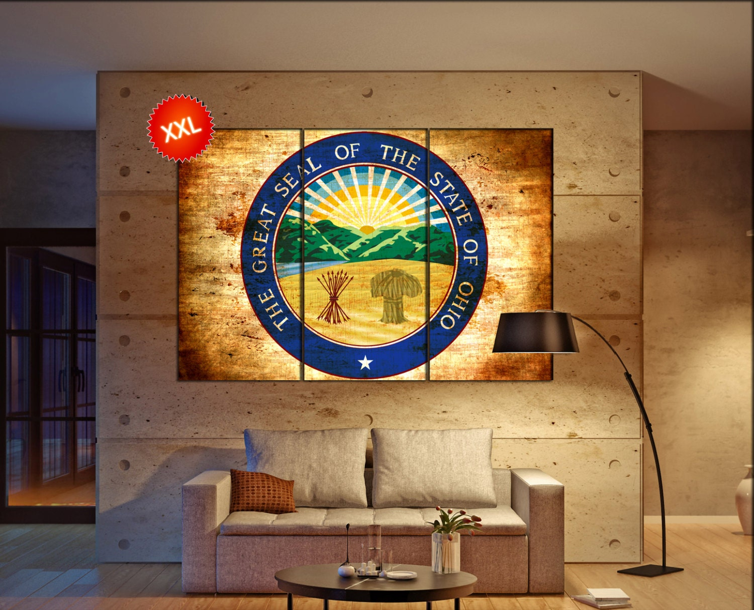 Amusing 30 ohio state wall art decorating inspiration of best 25 ohio state wall art ohio seal flag state flag wall art canvas print seal of ohio amipublicfo Image collections