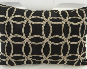 Black Designer Decorative Lumbar Pillow Cover with  Embroidered  Geometric Pattern Fabric / 14 x 20 / Both Sides