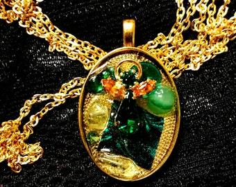 Green Angel Shadowbox Pendant